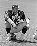 Oakland Raiders training camp August 10, 1982 at El Rancho Tropicana, Santa Rosa, California.   Oakland Raiders defensive end Dave Browning (73)