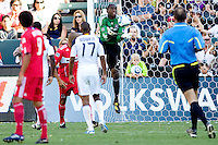 Chicago Fire goalkeeper Sean Johnson makes a save in the box. The Chicago Fire beat the LA Galaxy 3-2 at Home Depot Center stadium in Carson, California on Sunday August 1, 2010.