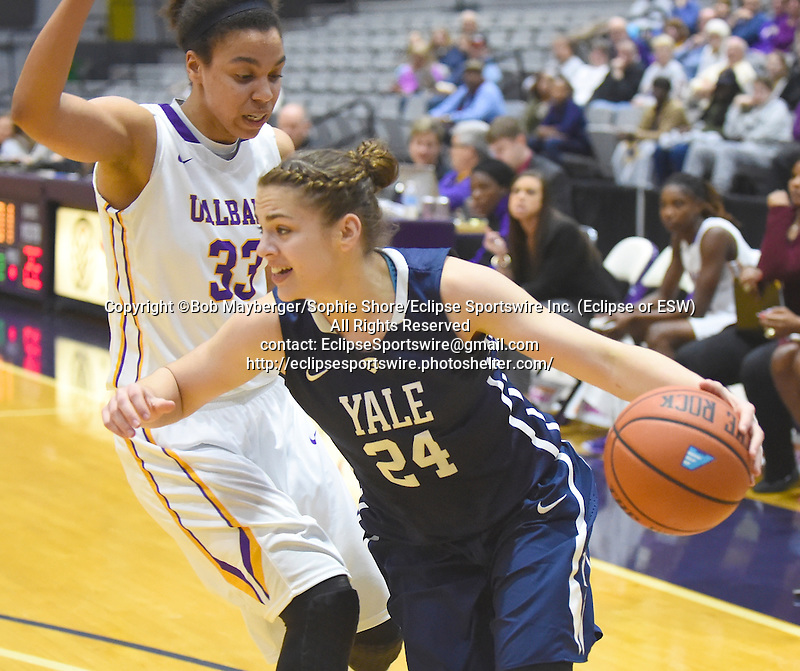Albany defeats Yale 74-70 on December 30, 2015 at SEFCU Arena in Albany, New York.  (Bob Mayberger/Eclipse Sportswire)