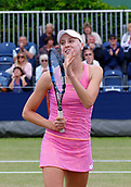 June 16th 2017, The Northern Lawn tennis Club, Manchester, England; ITF Womens tennis tournament; An ecstatic Naomi Broady (GBR) after her quarter final singles match against number one seed Kai-Chen Chang (TPE); Broady won in straight sets and meets Zarina Dyas in tomorrow semi finals
