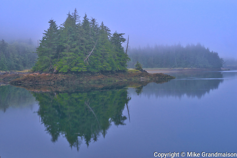 Looking towards Kaien Island. Fog at dawn., Prince Rupert, British Columbia, Canada