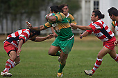 Stan Faaoso looks to fend off Fatu Leau as he eludes the clutches of Tupe Fanolua. Counties Manukau Premier Club Rugby game between Drury & Karaka played at the Drury Domain on Saturday April 26th, 2008..Karak won the game 30 -6 after leading 8 -3 at halftime.