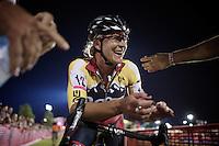 women elite winner Meredith Miller (USA/Noosa Yoghurt) cannot believe she just won Cross Vegas 2014