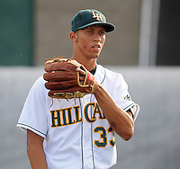 Infielder/shortstop Andrelton Simmons (33) of the Lynchburg Hillcats, Carolina League affiliate of the Atlanta Braves, prior to a game against the Wilmington Blue Rocks on June 15, 2011, at City Stadium in Lynchburg, Va. Simmons was a second-round pick in the 2010 First-Year Player Draft. (Tom Priddy/Four Seam Images)