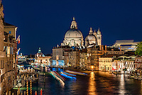 View of the Grand Canal at night, Venice, Italy