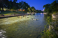 Baron Springs Pool, night swimming, full moon swim, dark, dusk, beloved, spring-fed pool, lifeguards, open late night,