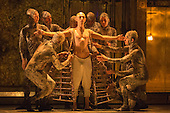 London, UK. 2 March 2016. Pictured: Anthony Roth Costanzo as Akhnaten dressed by members of Gandini Juggling. English National Opera (ENO) dress rehearsal of the Philip Glass opera Akhnaten at the London Coliseum. 7 performances from 4  to 18 March 2016. Directed by Phelim McDermott with Anthony Roth Costanzo as Akhnaten, Emma Carrington as Nefertiti, Rebecca Bottone as Queen Tye, James Cleverton as Horemhab, Clive Bayley as Aye, Colin Judson as High Priest of Amon and Zachary James as Scribe. Skills performances by Gandini Juggling.