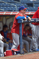 Buffalo Bison hitting coach Corey Hart (20) watches from the dugout during the game against the Durham Bulls at Durham Bulls Athletic Park on April 25, 2018 in Allentown, Pennsylvania.  The Bison defeated the Bulls 5-2.  (Brian Westerholt/Four Seam Images)