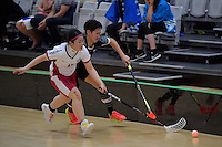 Japan&rsquo;s Maho Karino and Thailand&rsquo;s Khwanchanok Suksin in action during the World Floorball Championships 2017 Qualification for Asia Oceania Region - Japan v Thailand at ASB Sports Centre , Wellington, New Zealand on Saturday 4 February 2017.<br /> Photo by Masanori Udagawa<br /> www.photowellington.photoshelter.com.