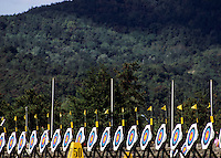 Row of several archery target boards