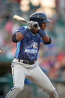 West Michigan Whitecaps second baseman Alexis Garcia (7) at bat during a game against the Fort Wayne TinCaps on May 17, 2018 at Parkview Field in Fort Wayne, Indiana.  Fort Wayne defeated West Michigan 7-3.  (Mike Janes/Four Seam Images)
