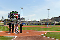 General view of the national anthem before a game between the Birmingham Barons and Tennessee Smokies on April 21, 2014 at Regions Field in Birmingham, Alabama.  Tennessee defeated Birmingham 10-5.  (Mike Janes/Four Seam Images)