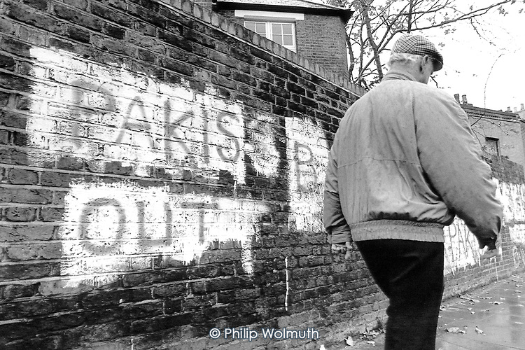 Racist graffiti painted on a wall by the British National Party, Tower Hamlets.