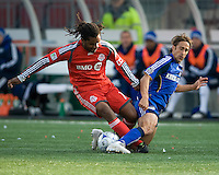 26 April 2009: Kansas City Wizards forward Josh Wolff #16 and Toronto FC defender Adrian Serioux #15 in action during an MLS game between Kansas City Wizards and Toronto FC.Toronto FC won 1-0. .