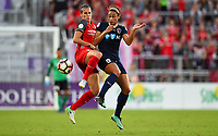 Orlando, FL - Saturday October 14, 2017: Katherine Reynolds, Lynn Williams during the NWSL Championship match between the North Carolina Courage and the Portland Thorns FC at Orlando City Stadium.