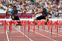 Devon Allen of USA and Aries Merritt of USA compete in the menís 110 metres hurdles during the Muller Anniversary Games at The London Stadium on 9th July 2017