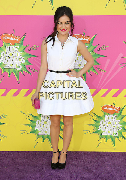 Lucy Hale.at The Nickelodeon's Kids' Choice Awards 2013 held at The Galen Center in Los Angeles, California, USA,.March 23rd 2013.full length white dress sleeveless hand on hip belt black shoes pink clutch bag shirt .CAP/ADM/KB.©Kevan Brooks/AdMedia/Capital Pictures.