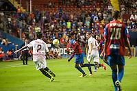 VALENCIA, SPAIN - SEPTEMBER 11: Camarasa, Tremdulinas and Krychowiak during BBVA LEAGUE match between Levante U.D. And Sevilla C.F. at Ciudad de Valencia Stadium on September 11, 2015 in Valencia, Spain