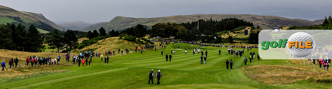 The 1st group walking down the 2nd during Day 2 Fourball at the Solheim Cup 2019, Gleneagles Golf CLub, Auchterarder, Perthshire, Scotland. 14/09/2019.<br /> Picture Thos Caffrey / Golffile.ie<br /> <br /> All photo usage must carry mandatory copyright credit (© Golffile | Thos Caffrey)