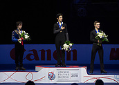 24th March 2018, Mediolanum Forum, Milan, Italy;  (L-R): Shoma UNO (JPN), Nathan CHEN (USA), Mikhail KOLYADA (RUS) during the ISU World Figure Skating Championships, men final medal ceremony at Mediolanum Forum in Milan, Italy