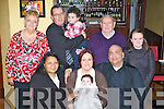 Nalida Meyer, Ballydribbeen, Killarney celebrated her christening with her parents Paula and Ashley in Trevauds restaurant Killarney on Saturday after been christened by Fr Kevin McNamara in St Mary's Cathedral front row l-r: Beverly O'Donoghue, Paula Meyer, Nalida Meyer, Ashley Meyer. Back row: Mary Herlihy, Diarmuid O'Donoghue, Thomas Herlihy, Leanne Meyer and Joshua Meyer....