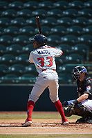 Malvin Matos (33) of the Lakewood BlueClaws at bat against the Hickory Crawdads at L.P. Frans Stadium on April 28, 2019 in Hickory, North Carolina. The Crawdads defeated the BlueClaws 10-3. (Brian Westerholt/Four Seam Images)