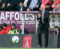 Burnley manager Sean Dyche reacts in his technical area<br /> <br /> Photographer Rich Linley/CameraSport<br /> <br /> The Premier League - Burnley v Manchester City - Sunday 28th April 2019 - Turf Moor - Burnley<br /> <br /> World Copyright © 2019 CameraSport. All rights reserved. 43 Linden Ave. Countesthorpe. Leicester. England. LE8 5PG - Tel: +44 (0) 116 277 4147 - admin@camerasport.com - www.camerasport.com