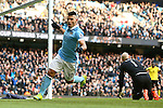 Sergio Aguero of Manchester City celebrates scoring his sides third goal - Barclay's Premier League - Manchester City vs Aston Villa - Etihad Stadium - Manchester - 05/03/2016 Pic Philip Oldham/SportImage