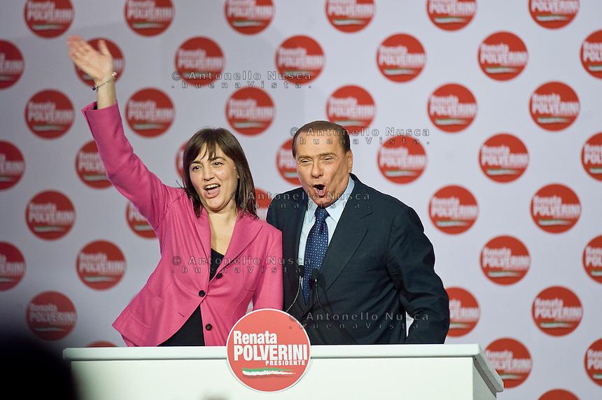 Roma, 26 Marzo, 2010. Renata Polverini con Silvio Berlusconi alla chiusura della campagna elettorale per le elezioni regionali.