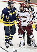 Mike Collins (Merrimack - 13), Johnny Gaudreau (BC - 13), Bob Bernard - The Boston College Eagles defeated the visiting Merrimack College Warriors 4-3 on Friday, November 16, 2012, at Kelley Rink in Conte Forum in Chestnut Hill, Massachusetts.