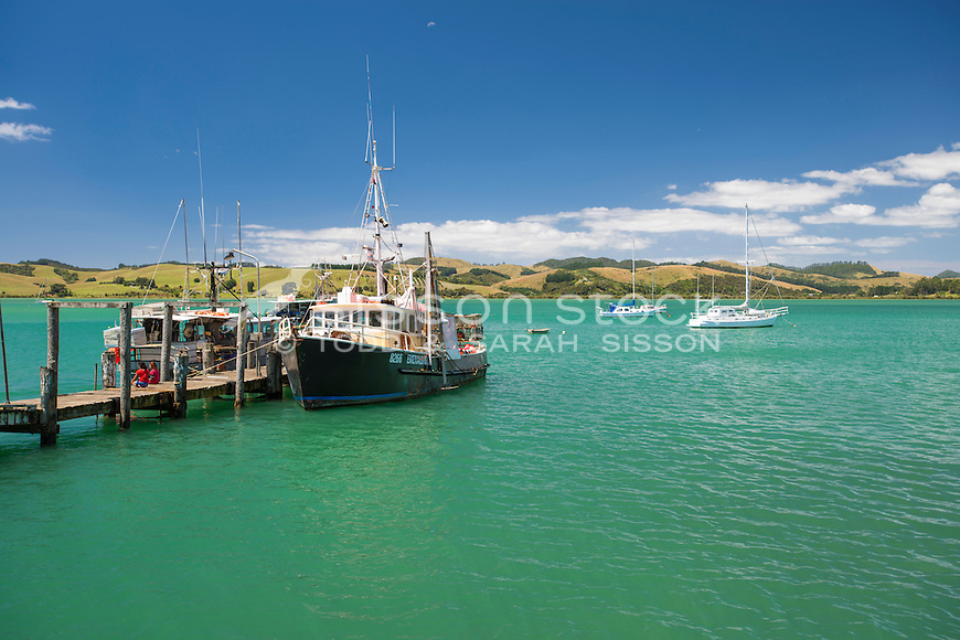 Boats in Summer at Mangonui, Northland, New Zealand - stock photo, canvas, fine art print