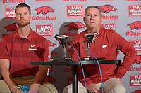 NWA Democrat-Gazette/ANDY SHUPE<br /> Arkansas coach Dave Van Horn (right) speaks Wednesday, Nov. 28, 2018, alongside newly hired pitching coach Matt Hobbs during a press conference to announce his hire at Baum Stadium in Fayetteville.