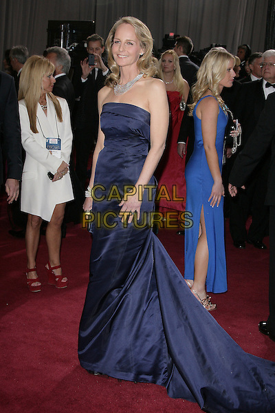 Helen Hunt (wearing H&M's eco-friendly Conscious collection).85th Annual Academy Awards held at the Dolby Theatre at Hollywood & Highland Center, Hollywood, California, USA..February 24th, 2013.oscars full length strapless dress navy blue silk satin  .CAP/ADM.©AdMedia/Capital Pictures.