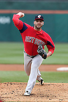 Pawtucket Red Sox pitcher Will Inman #19 during a game against the Buffalo Bisons at Coca-Cola Field on April 15, 2012 in Buffalo, New York.  Buffalo defeated Pawtucket 10-9 in ten innings.  (Mike Janes/Four Seam Images)