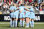 07 December 2008: North Carolina's starters huddle before the game. The University of North Carolina Tar Heels defeated the Notre Dame Fighting Irish 2-1 at WakeMed Soccer Park in Cary, NC in the championship game of the 2008 NCAA Division I Women's College Cup.