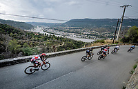 peloton descending<br /> <br /> 7th La Course by Tour de France 2020 <br /> 1 day race from Nice to Nice (96km)<br /> <br /> ©kramon