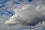 Cumulus storm clouds and blue sky in spring, California