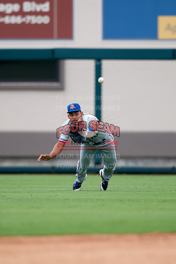 St. Lucie Mets right fielder Enmanuel Zabala (10) dives for a ball in the outfield during the second game of a doubleheader against the Lakeland Flying Tigers on June 10, 2017 at Joker Marchant Stadium in Lakeland, Florida.  Lakeland defeated St. Lucie 9-1.  (Mike Janes/Four Seam Images)