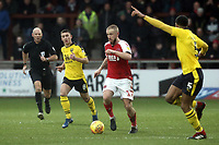 Fleetwood Town's Paddy Madden under pressure from Oxford United's Cameron Brannagan (left) and Curtis Nelson<br /> <br /> Photographer Rich Linley/CameraSport<br /> <br /> The EFL Sky Bet League One - Fleetwood Town v Oxford United - Saturday 12th January 2019 - Highbury Stadium - Fleetwood<br /> <br /> World Copyright &copy; 2019 CameraSport. All rights reserved. 43 Linden Ave. Countesthorpe. Leicester. England. LE8 5PG - Tel: +44 (0) 116 277 4147 - admin@camerasport.com - www.camerasport.com