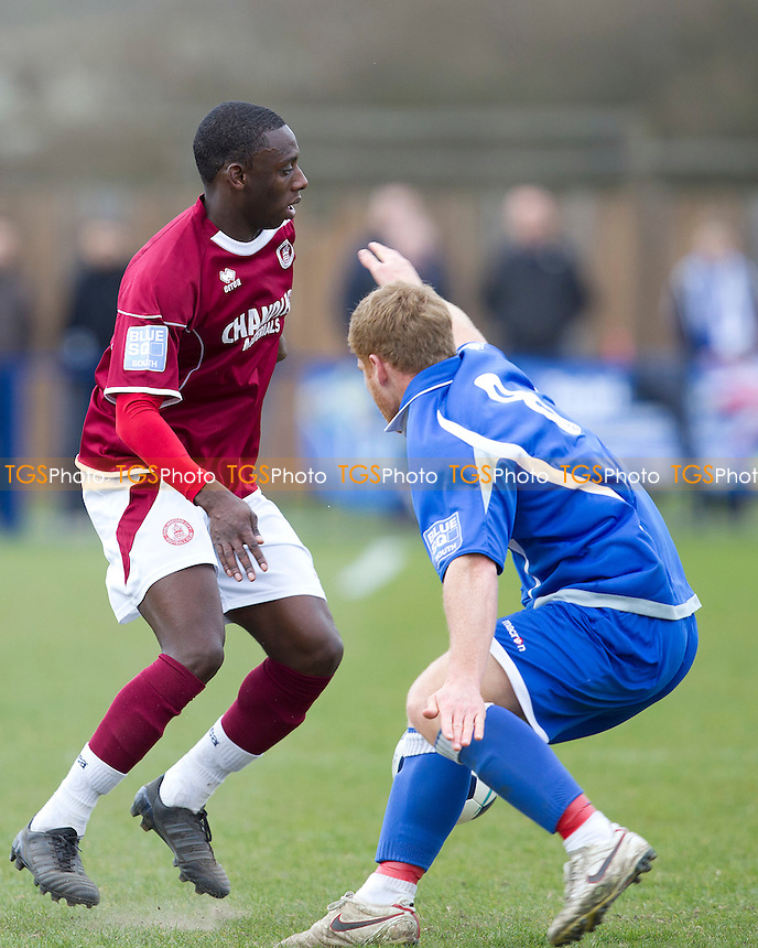 Warren Whitely of Chelmsford City gets inside Chris Piper of Tonbridge Angels - Tonbridge Angels vs Chelmsford City - Blue Square Conference South Football at Longmead Stadium, Tonbridge - 31/03/12 - MANDATORY CREDIT: Ray Lawrence/TGSPHOTO - Self billing applies where appropriate - 0845 094 6026 - contact@tgsphoto.co.uk - NO UNPAID USE.