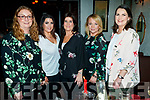 Catherine Donnelly, Nicole Rusk, Jackie Mullins, Michelle O'Connor and Helena Rusk, enjoying a night out at Cassidy's restaurant, Tralee, on Saturday night last.