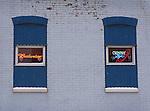 bar windows with signage.Budweiser & Coors Light