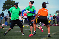 NZ Rugby's Frances Duffin in action in the festival match against the referees. Day two of the 2015 Rippa Rugby World Cup Tournament at Wakefield Park, Wellington, New Zealand on Tuesday, 15 September 2015. Photo: Dave Lintott / lintottphoto.co.nz