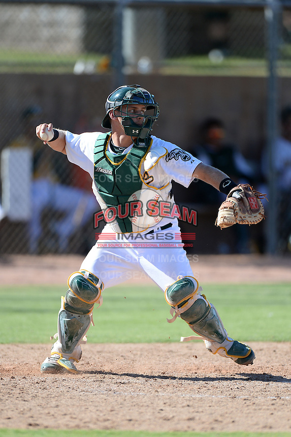 Oakland Athletics catcher Kyle Wheeler (22) during an instructional league game against the San Francisco Giants on September 27, 2013 at Papago Park Baseball Complex in Phoenix, Arizona.  (Mike Janes/Four Seam Images)
