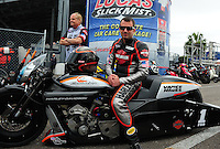 Mar. 10, 2012; Gainesville, FL, USA; NHRA pro stock motorcycle rider Eddie Krawiec during qualifying for the Gatornationals at Auto Plus Raceway at Gainesville. Mandatory Credit: Mark J. Rebilas-