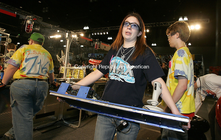 HARTFORD, CT. 16 March 2007--16_NEW_031607SV13--Amber Thomas, 17 of Wolcott High School carries a robotic control board after competing in a match at the United Technologies Connecticut Regional 2007 First Robotics Competition at the Connecticut Convention Center in Hartford Friday.<br /> Steven Valenti Republican-American