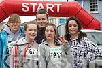 YOUNG: Young teens who took part in the Ballybunion Mini Marathon on Saturday in Ballybunion Front l-r: Ciara Walsh (Ballybunion) and Zoe Hughes (Ballydonoghue). Back l-r: Ellen McNamara, Alice Leveille (Ballydonoghue) and Lauren Kelleher (Listowel).................................................................. ........