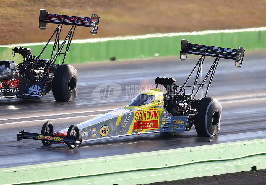 Oct 17, 2015; Ennis, TX, USA; NHRA top fuel driver Shawn Langdon during qualifying for the Fall Nationals at the Texas Motorplex. Mandatory Credit: Mark J. Rebilas-USA TODAY Sports