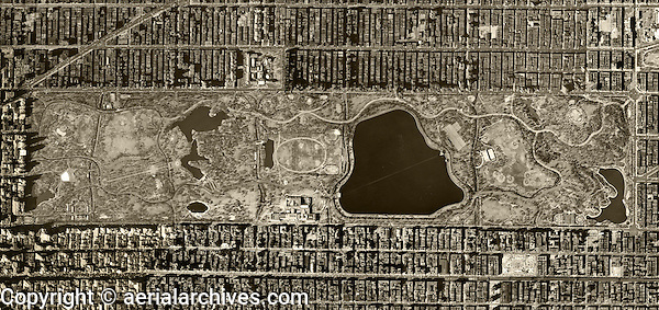 historical aerial photo map Central Park, Manhattan, New York City, 1954