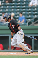 Outfielder Gregory Lorenzo (1) of the Delmarva Shorebirds bats in a game against the Greenville Drive on Monday, April 29, 2013, at Fluor Field at the West End in Greenville, South Carolina. Lorenzo is listed as the No. 29 prospect of the Baltimore Orioles, according to Baseball America. Greenville won, 3-1. (Tom Priddy/Four Seam Images)